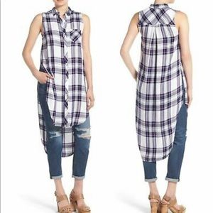 Rails Blue Pink Plaid High Low Long Side Slit sz S